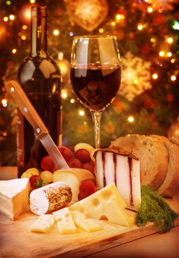 Christmas dinner at home, cheese and wine table setting, cozy atmosphere on Christmas eve