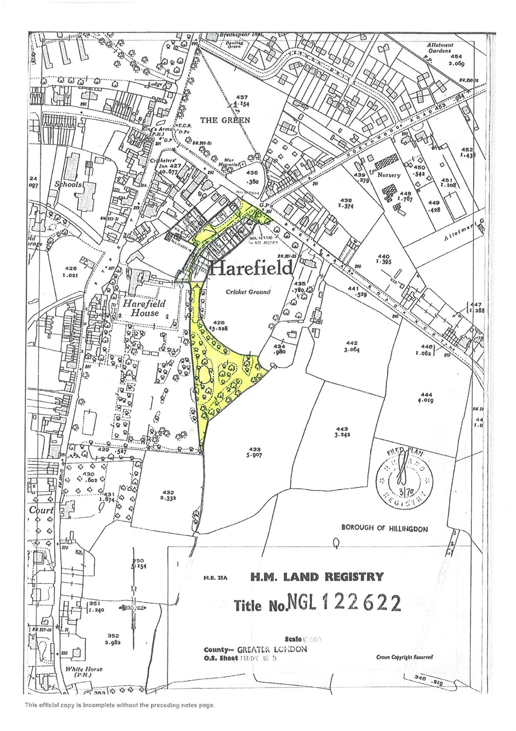 Harefield plot of land