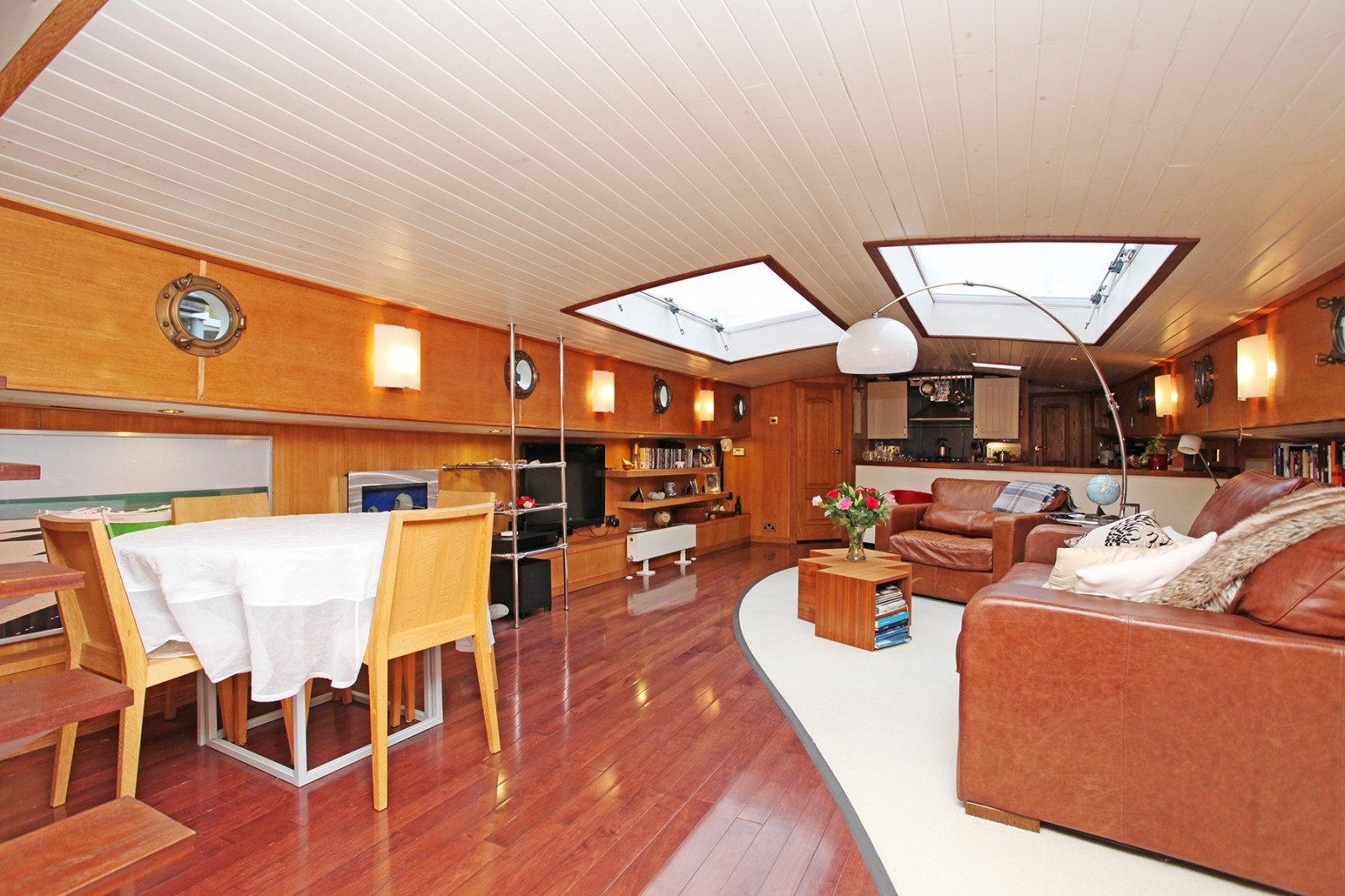 living room houseboat st katherines dock