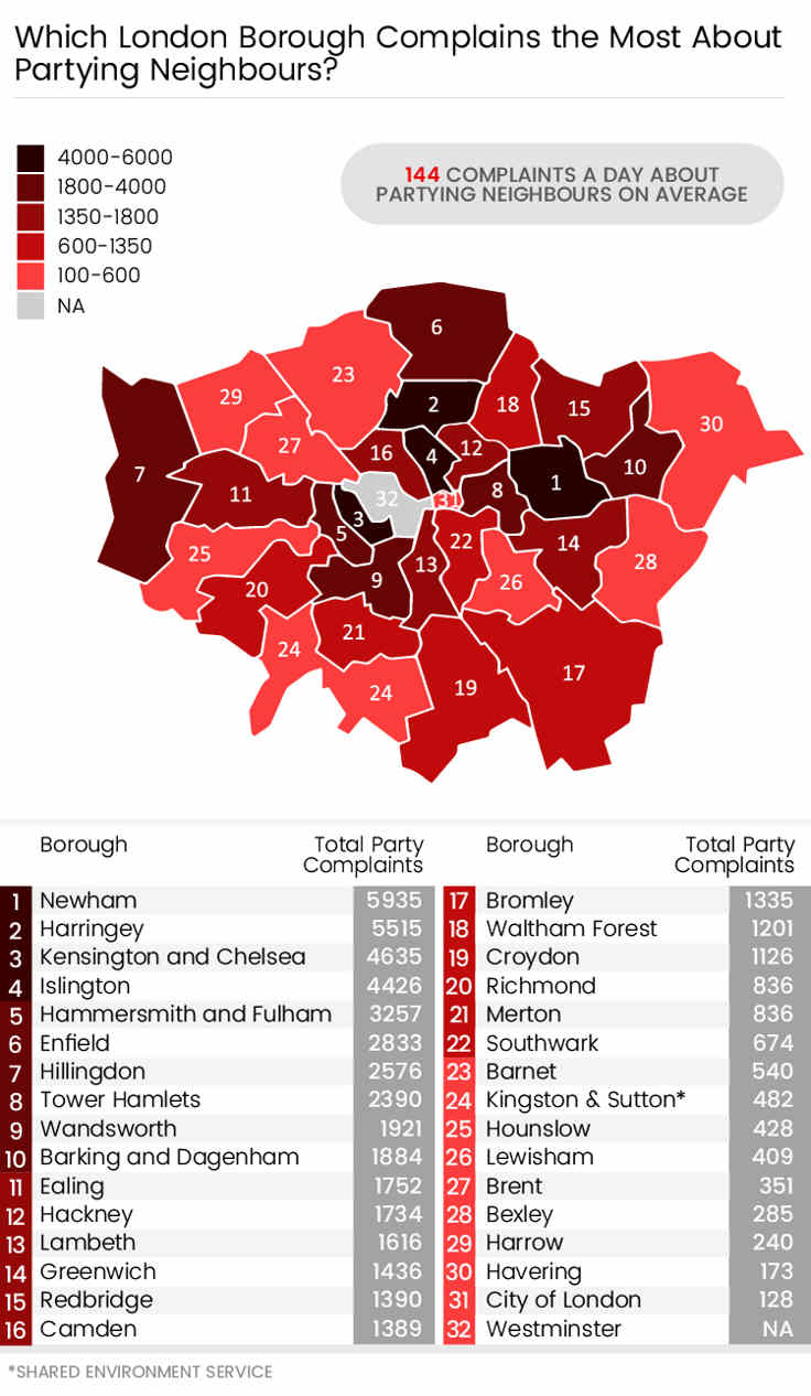 London map of boroughs that have the most parties